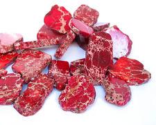 """15"""" 25mm 45mm Aqua Terra Impression Jasper Red slab freeform beads top drilled"""