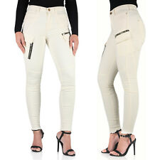 New Ex River Island Ladies Mid Waisted Stretch Skinny Jeans Cream Womens Pants