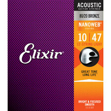 6 Sets Elixir 11152 12-String Light Nanoweb Acoustic Guitar Strings 10-47