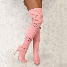Women Suede Stiletto Long Boots Side Zip Buckle High Heels Fashion Pointed Shoes