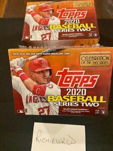 2020 Factory sealed Topps series 2 Baseball Blaster box-7 packs + Medallion Card
