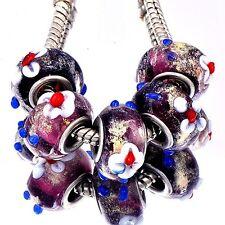 5pcs Purple Lampwork White Flower Murano Glass Bead European Fit Charm Bracelet