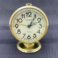 Vintage Mechanical Alarm Clock Slava 11 Jewels Russia Russian USSR Soviet 1960s