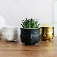 Succulent Flower Pot Face Shape Ceramic Planter Vase Head Figurine Cactus Pots