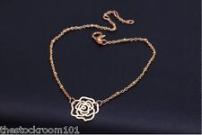 Ladies Gold Rose Ankle Bracelet Chain Adjustable Anklet Foot Charm Chain