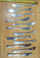 SET OF 12 NOBILITY VINTAGE 1939 ROYAL ROSE SILVERPLATED BUTTER SPREADER KNIVES