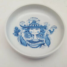 Set of 4 Vintage Blue & White Lady With Bird And Flowers Wine Coasters