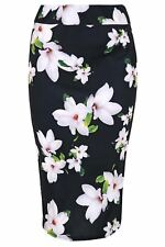 Ladies Pencil Tube Jersey Skirt Womens Dogtooth Tartan Print Bodycon Midi Skirt