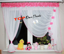 Beautiful Voile Net Curtains with Flowers Ready Made Living Dining Room Bedroom