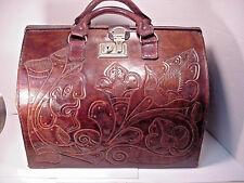 Leather Satchel Doctors Purse Travel Suit Case Hand Tooled Extra Large Ecuador
