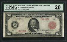 FR1016a $50 1914 FRN REDSEAL RICHMOND 10 RECORDED PMG 20 VF PROBLEM FREE WLM5649