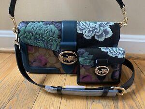 💙 Coach X Kaffe Fassett Floral Print Georgie Purse Bag & Wallet Green Clutch NW