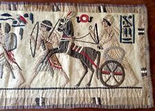 """antique Egyptian Revival appliqué figural wallhanging w chariot 56x17"""" v good"""