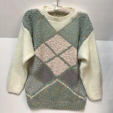 VTG TJW By Mervyns Sweater Womens Large Kawaii Fairy Kei Pastel Pink Teal Purple