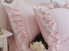 Vintage Embroidered Lace Ruffles Pillowcase Cotton Pink White