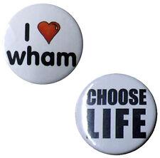 "Choose Life, Wham 25mm 2 Badge set. Small 1"" heart badges George Michael tribube"