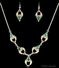 Genuine 925 Sterling Silver Handmade Malachite Necklace & Earrings Jewelry Set