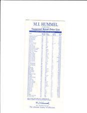 2000 M. I. Hummel Price List Suggested Retail Us Dollar $