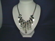 CHUNKY BLING SILVER TONE METAL DROP NECKLACE S078