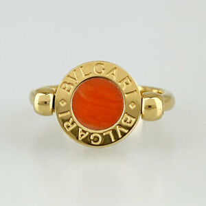 BVLGARI ring Yellow gold Onyx & Agate ring 48 US size 4.5-5 Auth #072412