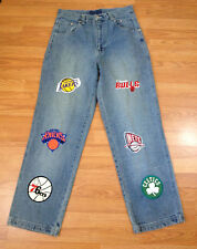 NBA Mens Jeans 34x34 Celtics Lakers 76ers Knicks Nets Chicago Bulls Logo T18