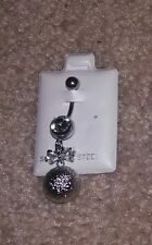 With Bow and Dangling Ball, Adorable! New Belly Button Ring 316L Surgical Steel