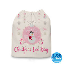 Personalised Pink Snowman Christmas Eve Bag Stocking Santa Sack Presents Gift