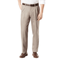 Dockers Signature Lux Cotton Relaxed Fit Pleated Stretch Khaki Pants, Dk. Beige