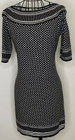 Ladies MAX STUDIO  Black White Spots Polka Dots Tunic Dress Small 8 10