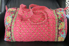 """VERA BRADLEY PINK PANSY LARGE DUFFEL BAG EXCELLENT CONDITION 19""""LX10""""W X 9""""T"""