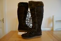 CLARK`S MOSS WAY BROWN SUEDE LEATHER FAUX FUR TRIM KNEE LENGTH BOOTS UK 6.5 EU40