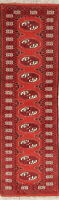 Geometric Bokhara Oriental Hand-Knotted 2'x6' Wool Runner Rug Red Carpet