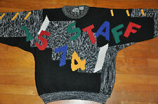 Vtg 80s 90s STAFF Teacher funky fun Alphabet Math acrylic Sweater baggy black XL