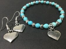 Love Heart Stretch Beaded Bracelet With Gemstones Turquoise And Silver Beads