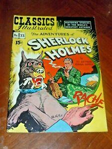 CLASSICS ILLUSTRATED #33   ADV. SHERLOCK HOLMES (1951) F-VF (7.0) cond.  HRN 89