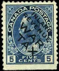 Canada #MR2Bi used F-VF 1915 War Tax 5c blue Overprint CV$95.00