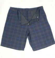 "LULULEMON  Mens  Blue and Gray Plaid Shorts Sz 40 Golf Travel Workout 20"" long"