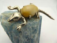 Vintage Mexico Lizard Silver Prong Set Yellow Agate Gekko 1950s Pin Brooch