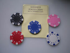 Magic Trick 5 Metal Shimmed Poker Chips Use With Pk Raven Ect.