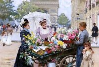 Flower Seller Champs Elysees Painting by Louis Marie Schryver Art Reproduction