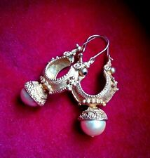 Orecchini in Argento 925 Dorato con Perle - Vintage anni 80