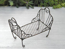 Miniature Dollhouse FAIRY GARDEN Furniture ~ Antiqued Metal Wire Day Bed ~ NEW