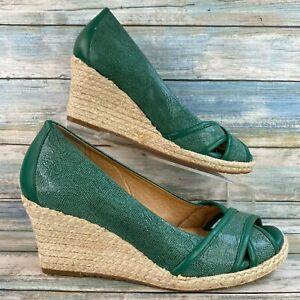 Nurture Antonia Womens Green Leather Peep Toe Espadrille Pump Wedge Heel 7M
