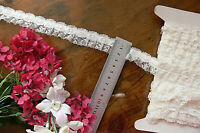 Nylon Rayon Gathered Lace IVORY with Satin Insert - 27mm wide 6Metre Length GaHg