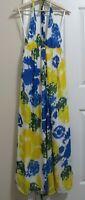 ALICE + OLIVIA Multi Color Tie Dye Silk Halter Maxi Dress Yellow Blue Sz Large L