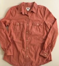 Old Navy Pink Chambray Shirt Womens XS 100% Cotton Button Down Denim w Pockets