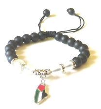 Unisex Palestine Metal Map Colored Flag black beaded Bracelet Fashion Wristband