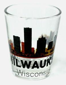 MILWAUKEE WISCONSIN SUNSET SKYLINE SHOT GLASS SHOTGLASS