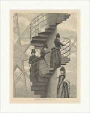 An ascent of eifelthurmes in Paris Stairs Wood Engraving Super Price x 2348