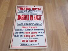 Barry LUPINO & Billie LOVE in MARRIED in HASTE Theatre Royal NOTTINGHAM Poster